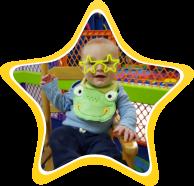 A baby bor wearing star eye glass