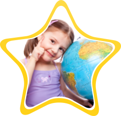 A girl with a globe